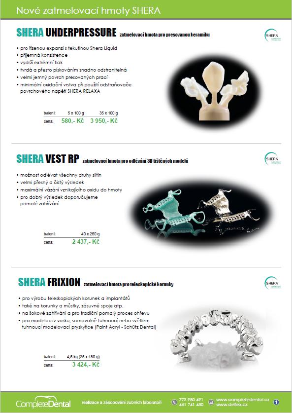 Nové zatmelovací hmoty Shera